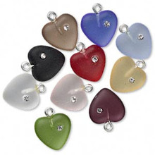 10 Frosted Czech Pressed Glass Heart Charms with Cubic Zirconia ~ 11mm