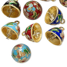 10 Beautiful Cloisonne 12x10mm Bells ~ Assorted 5 Color Mix