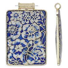 1 Cloisonne Gold Finished Copper Blue White Rectangle Pendant  * 52x37mm