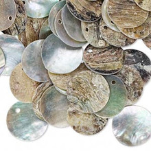100 Natural Color Mussel Shell Coin Drop Charms  ~ 15mm