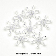 500 Clear Crystal Acrylic 18mm Starflake Snowflake Paddle Beads