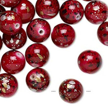 170 Red with Gold/Silver/Black Speckles Round Acrylic Beads ~ 10mm *