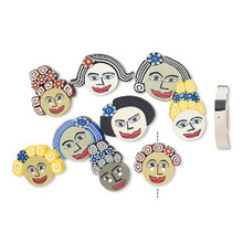 10 Polymer Clay Multi Colored Lady's Face Disc Bead Mix