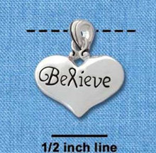 "1 Silver Plated Pewter "" BELIEVE ""  Word Heart Charm with Bail ~ 3/4 Inch"