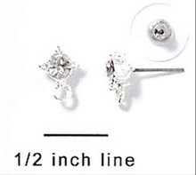 1 Pair Silver Plated Ear Studs Earrings Made with Clear Swarovski Crystals  *