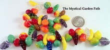 25 Glass Fruit Bead Mix ~Banana Grape Pear Strawberry Lime Lemon & More