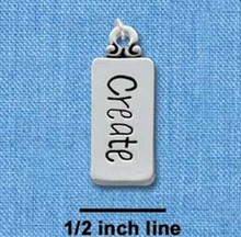 "1 Silver Plated Pewter "" CREATE ""  Word Tag Charm   ~ 9x22mm"