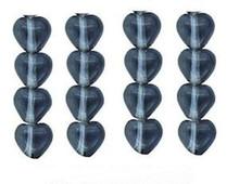 100 Czech Pressed Glass 6mm Heart Beads ~  Transparent Montana Blue ~ *