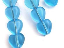 100 Czech Pressed Glass 6mm Heart Beads ~ Transparent Aquamarine Blue  *