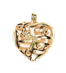 1 Gold Plated Heart Hinged Cage  ~ 25mm  ~ Opens to Hide Treasures  *