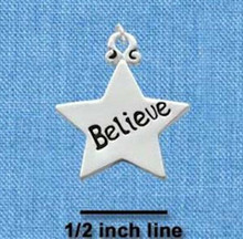 "1 Silver Plated Pewter "" BELIEVE ""  Word Star Charm ~  3/4 Inch"