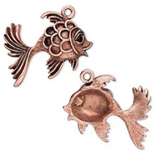 2 Antiqued Copper Fancy GOLDFISH Charms Fish  *30x29mm   *