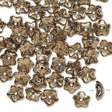 50 Czech Glass Opaque Bronze 8x3mm Flower Bead Caps ~ Fits 6-8mm Beads  *
