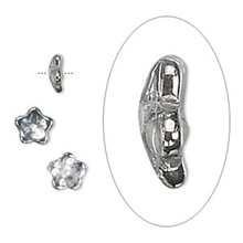 50 Czech Pressed Glass Transparent Metallic Silver 7x3mm Flower Bead Caps  ~ Fits 5-7mm Beads  *