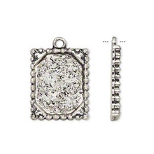 10 Antiqued Silver Plated Pewter Photo Frame Charms ~ 21x17mm
