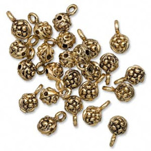 24 Antiqued Gold Finished Pewter Nugget Slider Beads with Loop ~  6mm