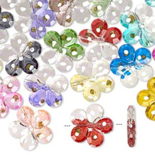 24 Assorted Acrylic Flower Beads with Dots & Gold Glitter Mix ~31mm  *