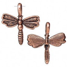 2 Antiqued Copper Plated Pewter Dragonfly Charms  ~ 21x25mm  *