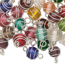 50 Silver Plated Spiral Wire Wrapped Glass Bead Mix  * 14x8mm