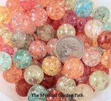 100 Assorted Round Ice Flake Resin Bead Mix ~ 12mm *