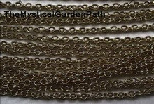 "100"" Antiqued Brass Finished Steel Fine Cable Bulk Chain  * 2x3mm Oval Links"