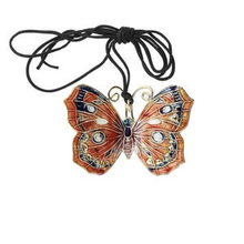 1 Orange Black & Gold Butterfly Cloisonne Pendant  ~ 50x35mm *