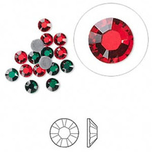 16 Hot Fix Flat Back Round Red & Green Crystals ~ 3.9-4mm ~ SS16  *