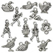 "Set of 12 Antiqued Pewter "" Twelve Days of Christmas "" Charms  *"