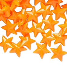 144 Plastic Opaque Neon Orange Faceted 11x11mm STAR Beads   *