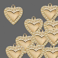 10 Gold Plated Brass Beaded Heart Charms  ~ 16x14mm  *