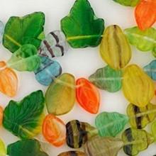 "16"" Strand Czech Pressed Glass Transparent Multi Leaf Bead Mix"