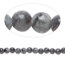1 Strand Black & Grey Jungle Jasper Gemstone 4mm Round Beads  *
