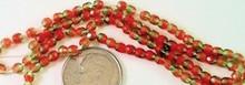 100 Czech Fire Polished Autumn Orange & Peridot Mix 3mm Glass Beads *