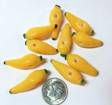 10 Lampwork Glass Yellow Banana Fruit Beads ~  Approximately  9x26mm  *