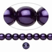 1 Strand Czech Glass Deep Purple Pearl Coated Druk Round Beads  ~ 6mm