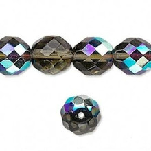 1 Strand Czech Fire Polished Glass Aurora Borealis Smoke Faceted Round Beads ~ 12mm