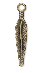 10 Antiqued Brass Finished Pewter 24x4mm Feather Charms  *
