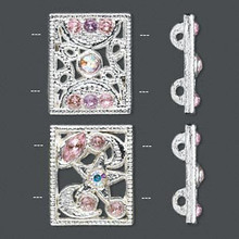 2 Silver Plated Pewter with Pink Czech Rhinestones Spacer Slider Links