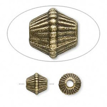 20 Antiqued Brass Finished Pewter Corrugated Bicone Beads  ~9x9mm