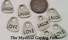 20 Antiqued Silver Finished Pewter Word Charms ~ LOVE ~LAUGH  *