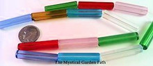 14 Spring Colors Transparent Glass Tube Beads  ~ 30x6mm *