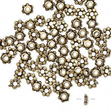 1/4 OZ Antiqued Pewter OR Brass Rondelle Beads  ~4.5x1.5mm *