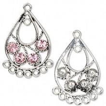 2 Antiqued Silver Pewter Teardrop Earrings with Pink Swarovski Crystals *