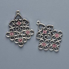 2 Antiqued Silver Pewter Filigree Drops with Light Rose Swarovski Crystals *s *