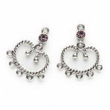 2 Antiqued Silver Pewter Earring Connectors with Lt Amethyst Swarovski Crystals*