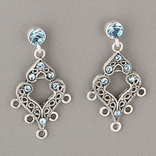 1 Pair Antiqued Silver Pewter Earrings with Swarovski Aqua Blue Crystals *