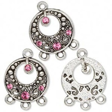 3 Antiqued Silver Pewter Earring Rounds with Swarovski Pink Crystals *