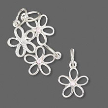 4 Silver Plated Pewter Flower Charms with Swarovski Lilac Crystals *
