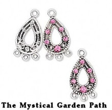 3 Antiqued Silver Pewter Teardrop Earrings with Swarovski Pink Crystals  *