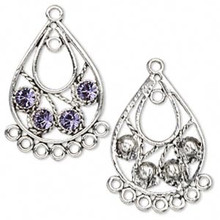 2 Antiqued Silver Pewter Teardrop Earring with Swarovski Tanzanite Crystals *